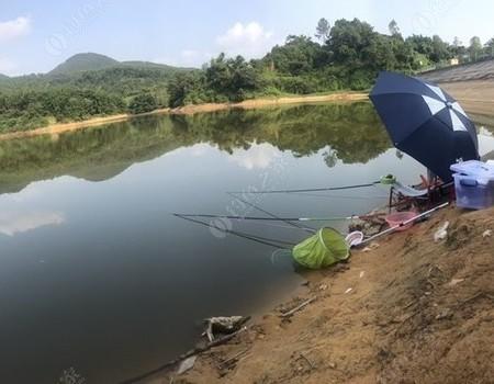 魚竿倒影入湖庫 浮漂飄動微風起 自身融入釣魚中